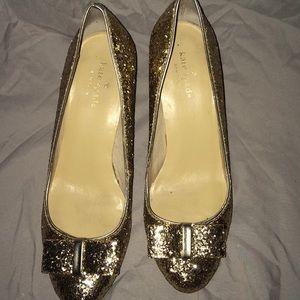 Kate Spade Gold Glitter Bow Heels